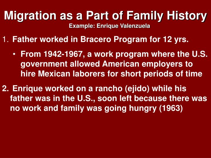 Migration as a Part of Family History