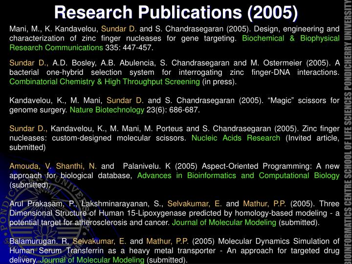 Research Publications (2005)
