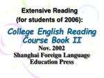 college english reading course book ii nov 2002 shanghai foreign language education press