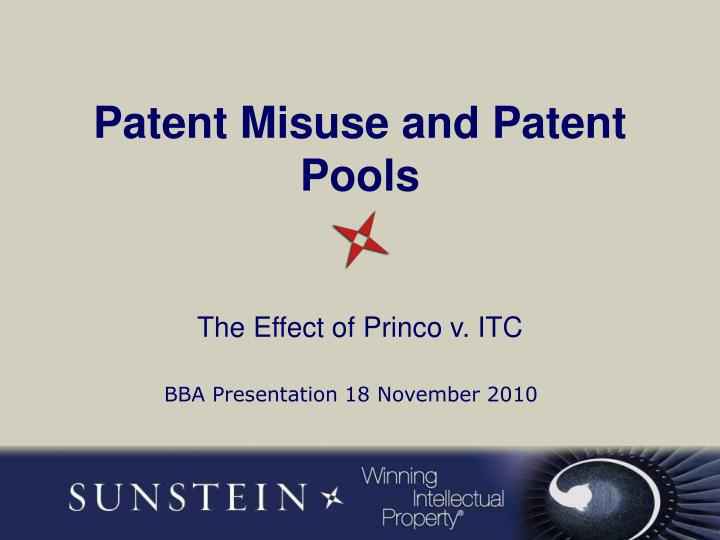 patent misuse and patent pools n.