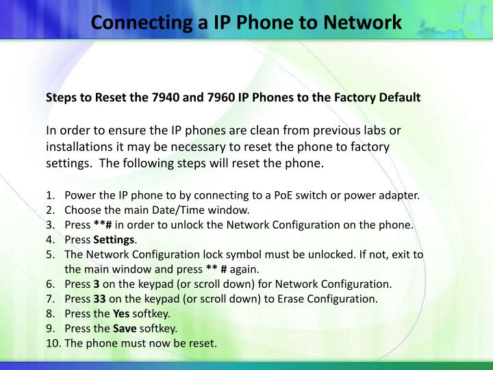Connecting a IP Phone to Network
