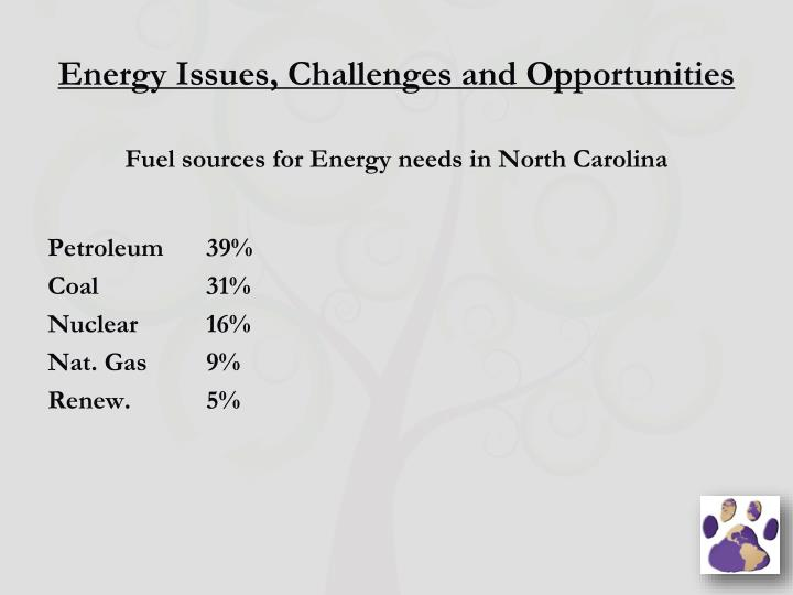 Energy Issues, Challenges and Opportunities