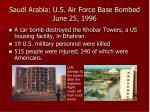 saudi arabia u s air force base bombed june 25 1996