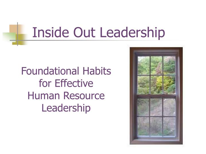 foundational habits for effective human resource leadership n.