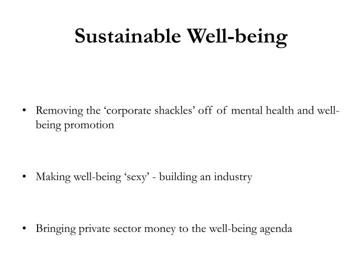 Sustainable Well-being