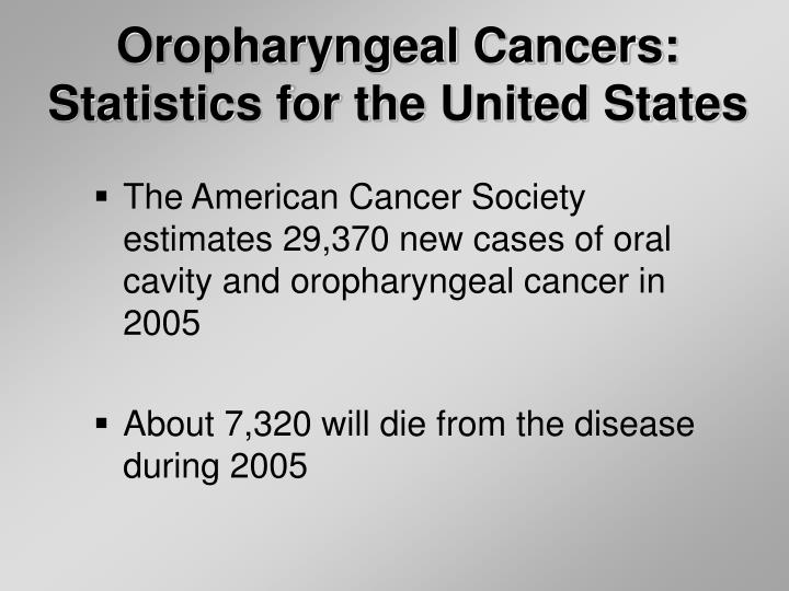 Ppt epidemiology of oral cancer powerpoint presentation id3119659 oropharyngeal cancersstatistics for the united states the american cancer society toneelgroepblik Gallery