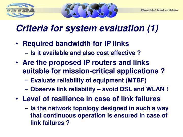 Criteria for system evaluation (1)