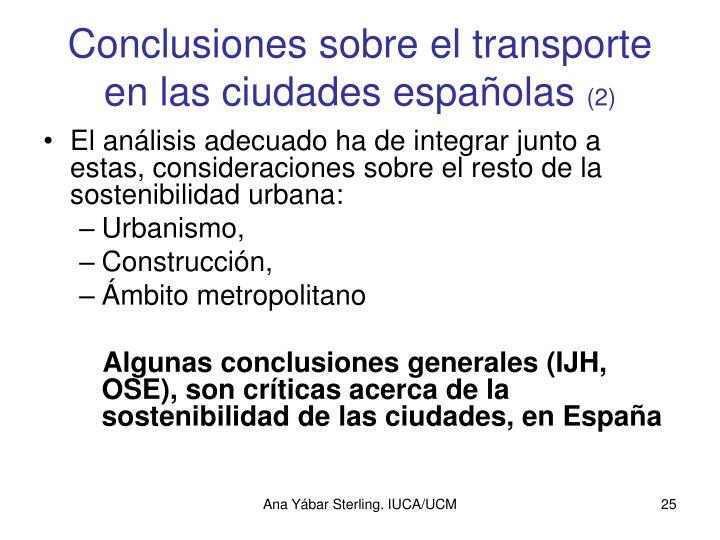 Conclusiones sobre el transporte en las ciudades españolas