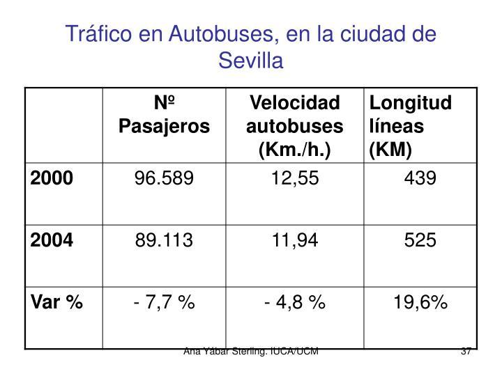 Tráfico en Autobuses, en la ciudad de Sevilla