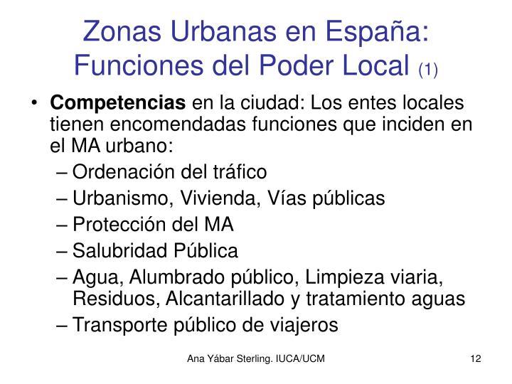 Zonas Urbanas en España: