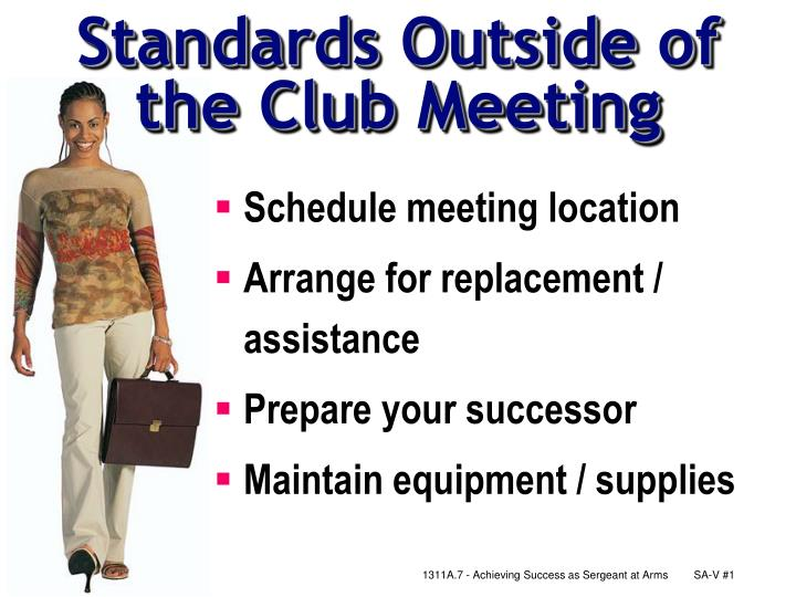 standards outside of the club meeting n.
