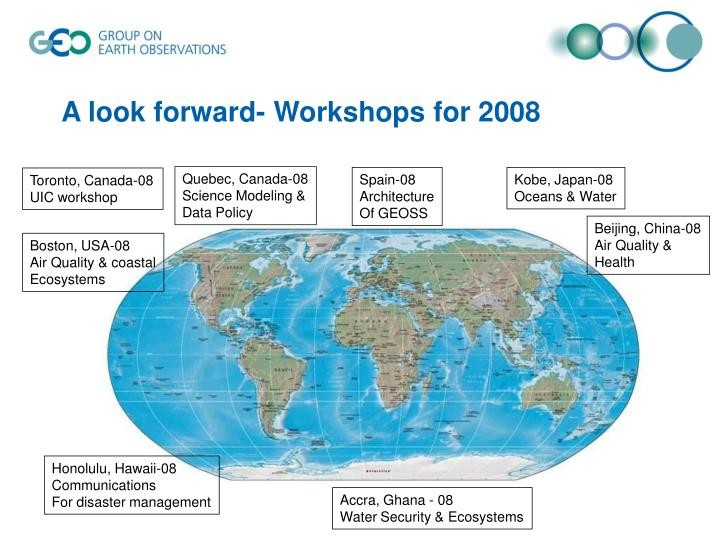 A look forward- Workshops for 2008