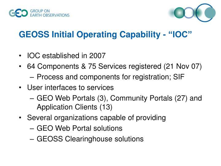 "GEOSS Initial Operating Capability - ""IOC"""