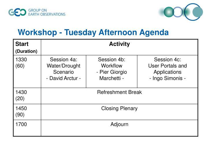 Workshop - Tuesday Afternoon Agenda