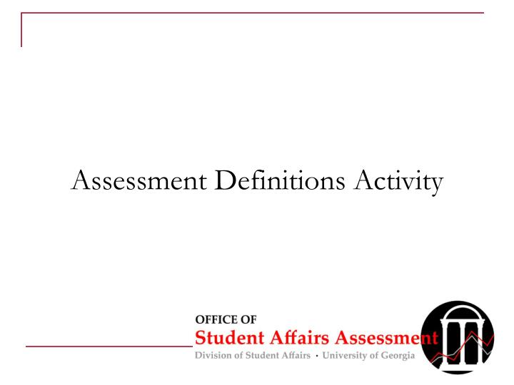 Assessment Definitions Activity