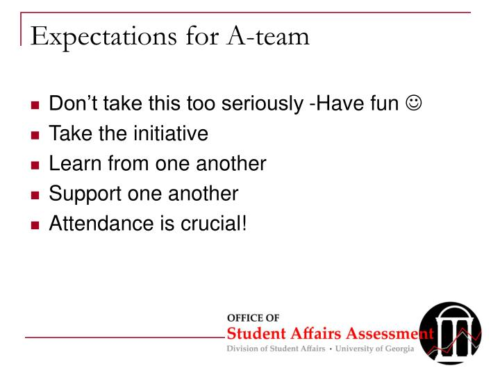 Expectations for A-team