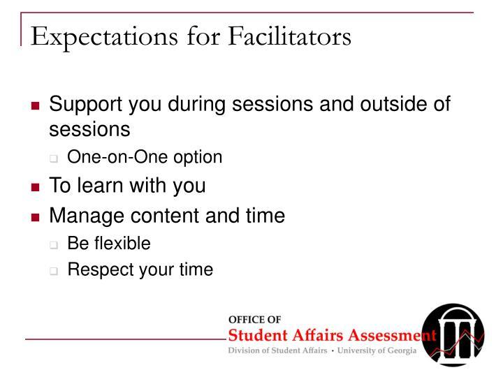 Expectations for Facilitators