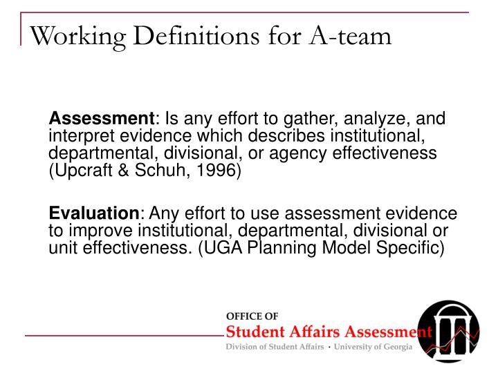 Working Definitions for A-team