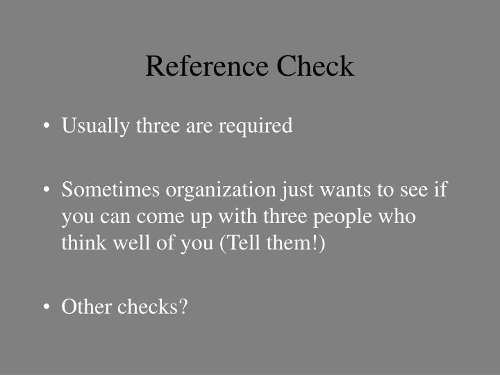 Reference Check