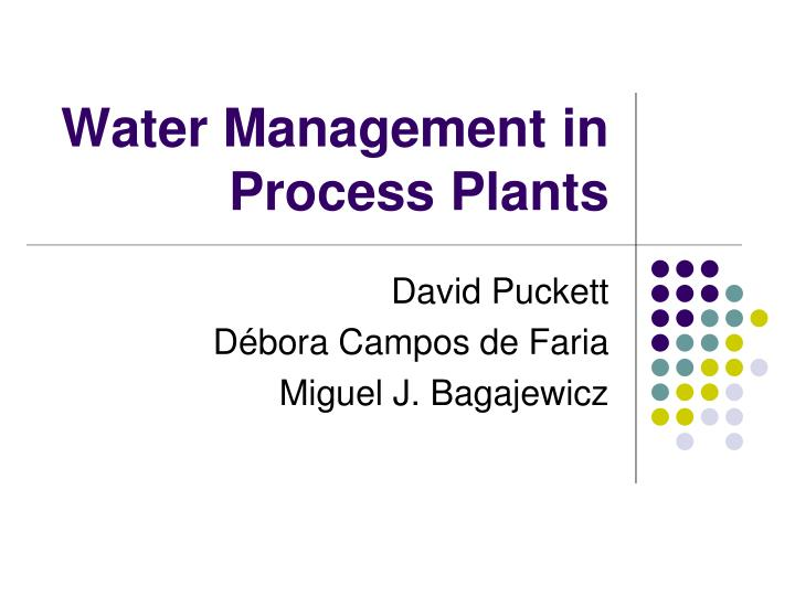 water management in process plants n.