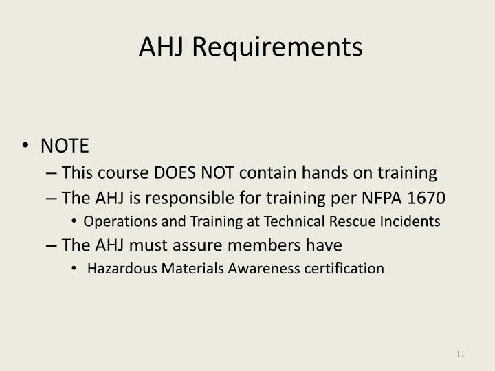 AHJ Requirements