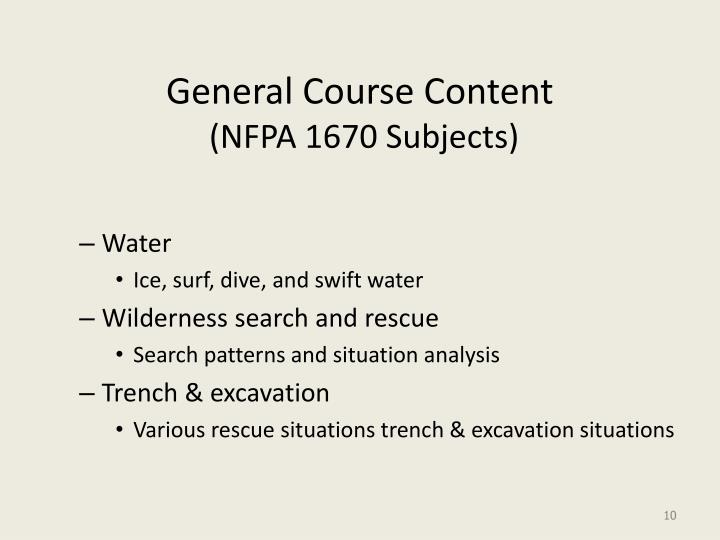 General Course Content