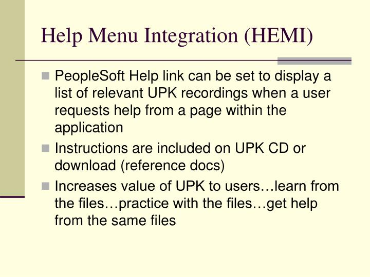 Help Menu Integration (HEMI)