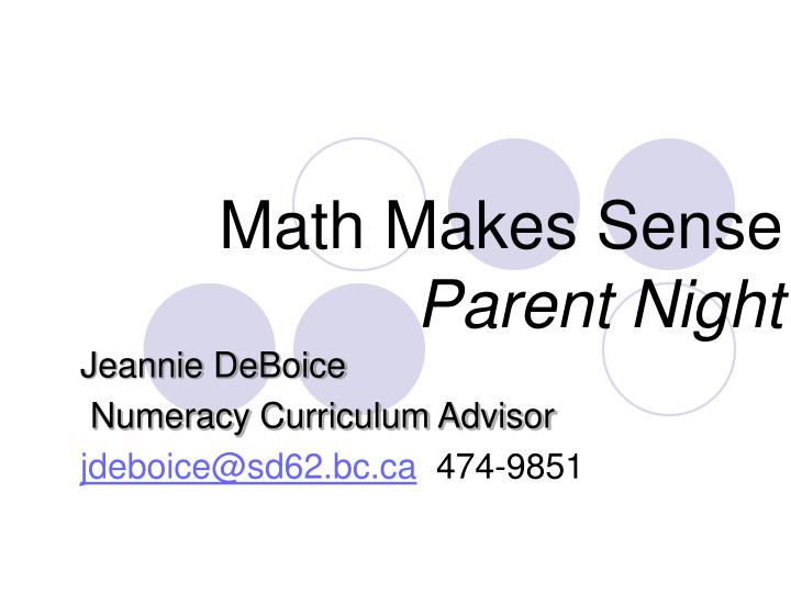 math makes sense parent night n.
