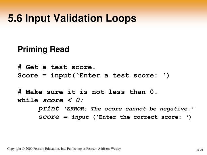 5.6 Input Validation Loops