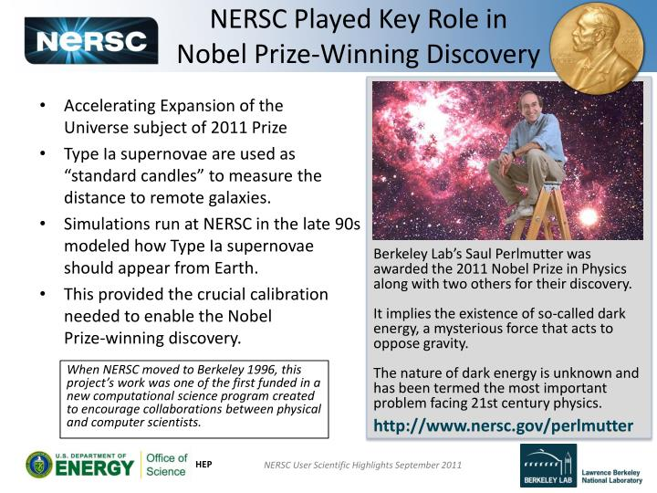 Nersc played key role in nobel prize winning discovery