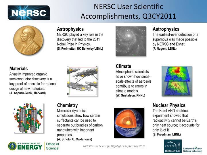 Nersc user scientific accomplishments q3cy2011