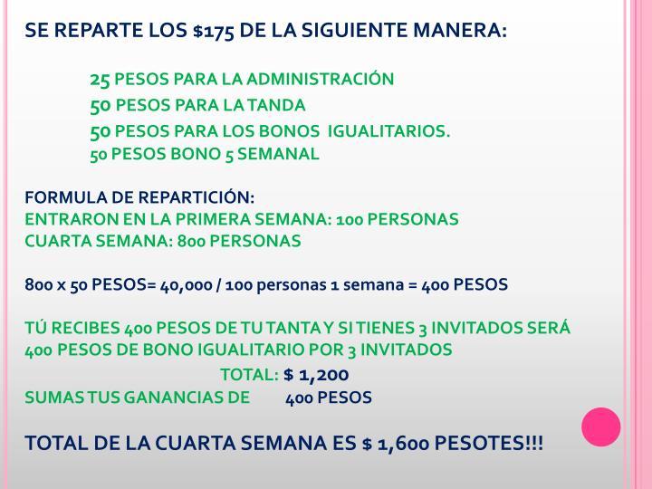 SE REPARTE LOS $175 DE LA SIGUIENTE MANERA: