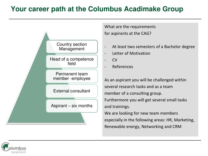 Your career path at the Columbus Acadimake Group
