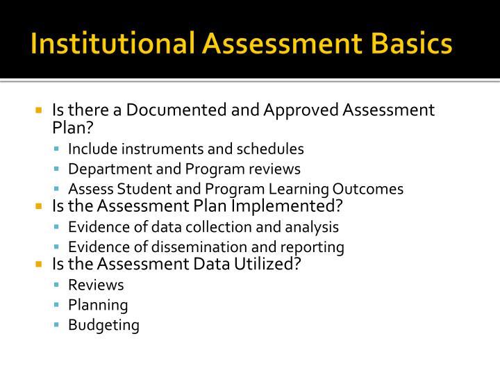 Institutional assessment basics