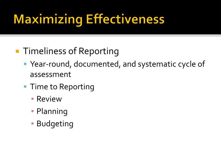 Maximizing Effectiveness