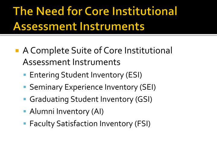 The Need for Core Institutional Assessment Instruments