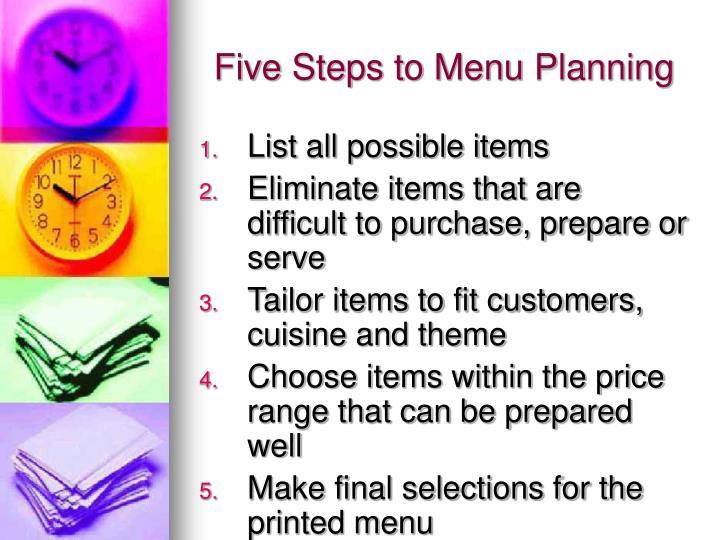 Five steps to menu planning