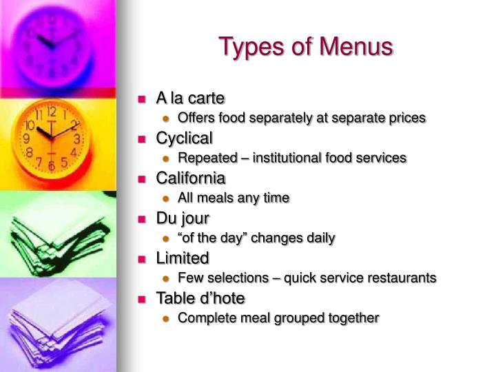 Types of menus
