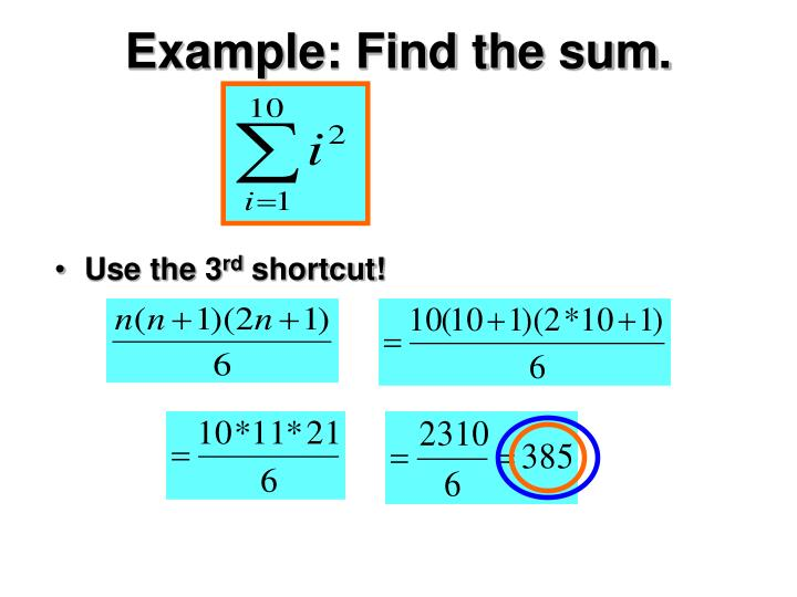 Example: Find the sum.