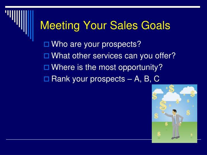 Meeting Your Sales Goals