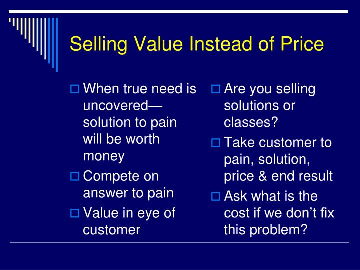 Selling Value Instead of Price