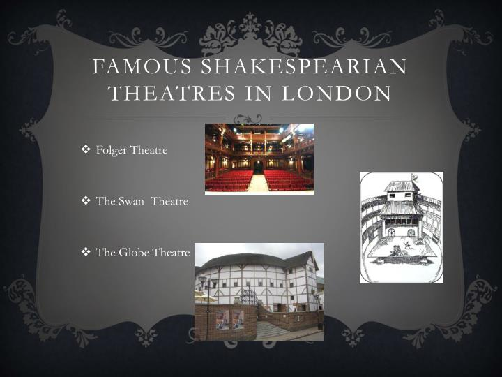 Famous Shakespearian theatres in London