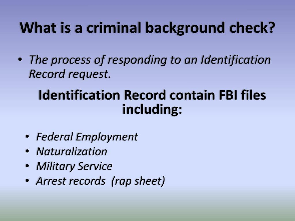 PPT - FBI Background Checks for licensees PowerPoint
