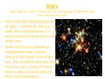 stars huge objects in space made up of gas and giving off light and heat from nuclear reactions