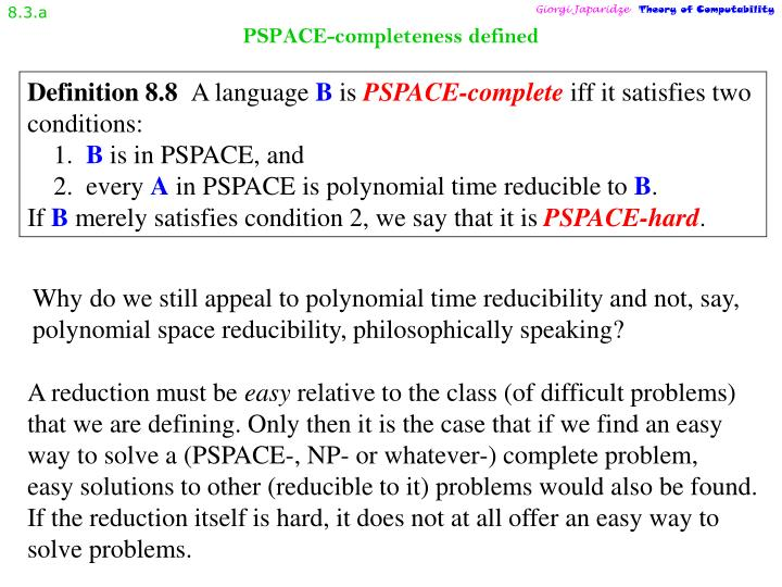Pspace completeness defined
