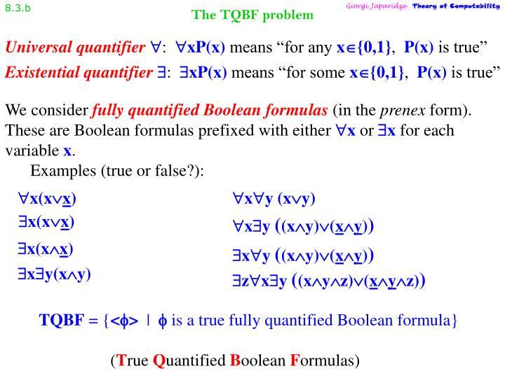 The tqbf problem