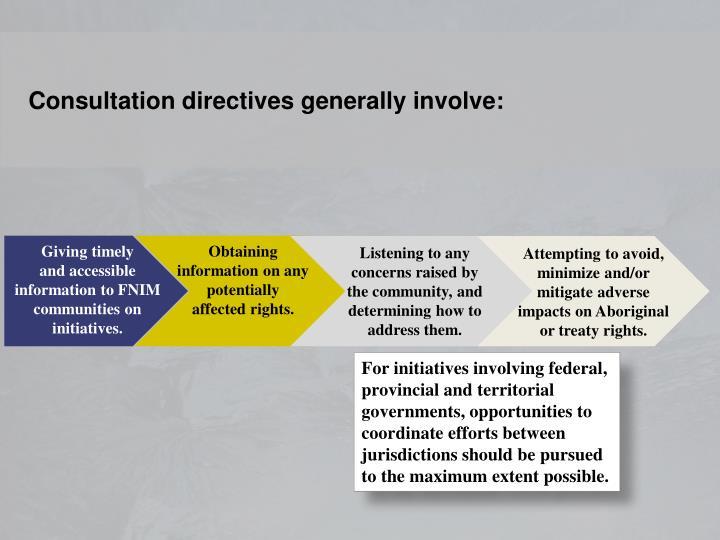 Consultation directives generally involve: