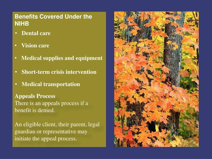 Benefits Covered Under the NIHB