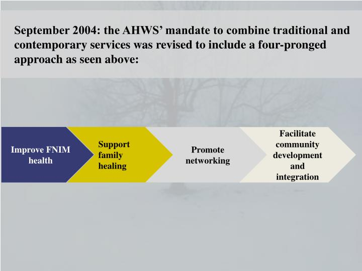 September 2004: the AHWS' mandate to combine traditional and contemporary services was revised to include a four-pronged