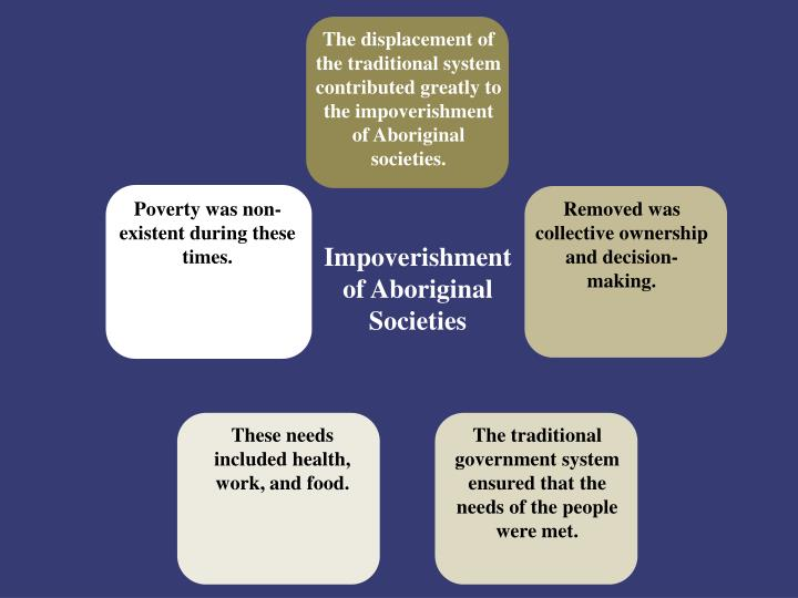 The displacement of the traditional system contributed greatly to the impoverishment of Aboriginal societies.